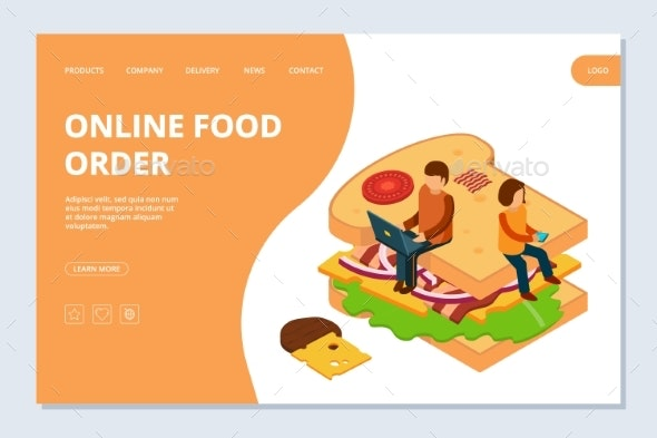 Online Food Order Landing Page Template. Vector - People Characters