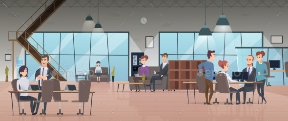 Open Office Interior. Business People Workspace - People Characters