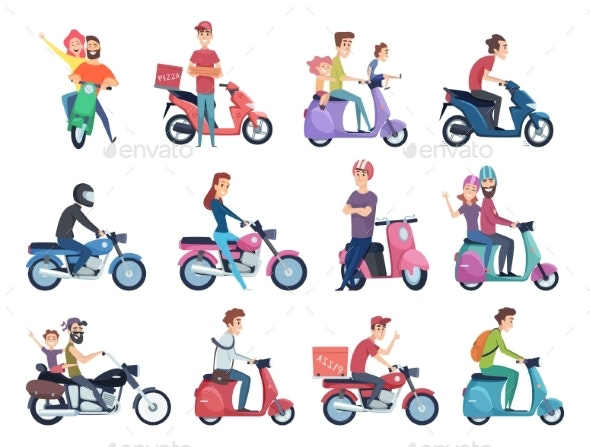 Motorcycle Riders. Male and Female Drivers in - People Characters