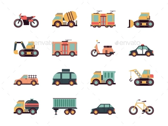 Transport Flat Icons. Urban Vehicles Cars Buses - Objects Vectors