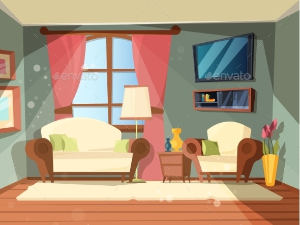 Luxury Room. Premium Interior of Living Room with - Objects Vectors
