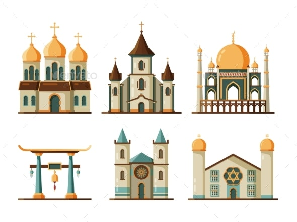 Religion Buildings Flat. Lutheran and Christian - Buildings Objects