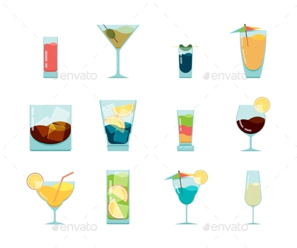 Cocktails Flat Icon. Alcoholic Summer Party Drinks - Food Objects