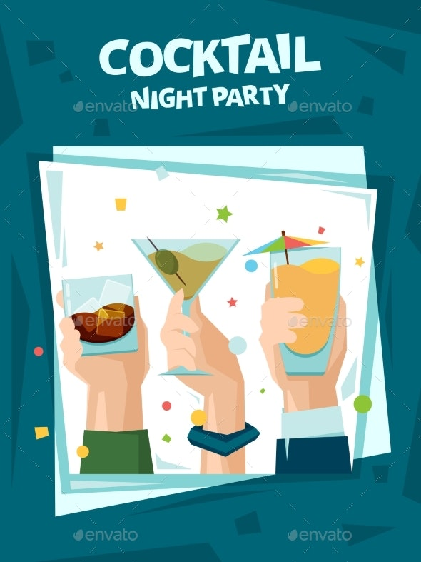 Cocktail Party Poster. Alcoholic Cocktail Drinks - Miscellaneous Vectors