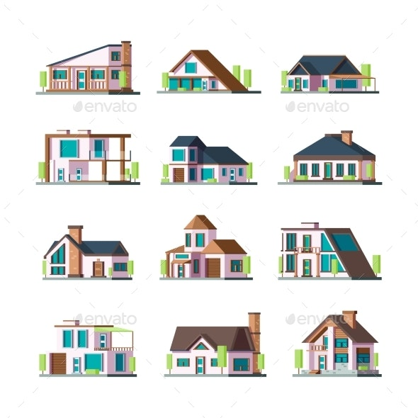 Modern Buildings. Living Houses Villa Townhouse - Buildings Objects