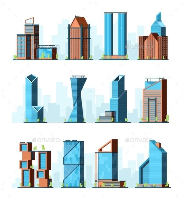 Urban Skyscrapers. Modern Corporate Office - Buildings Objects