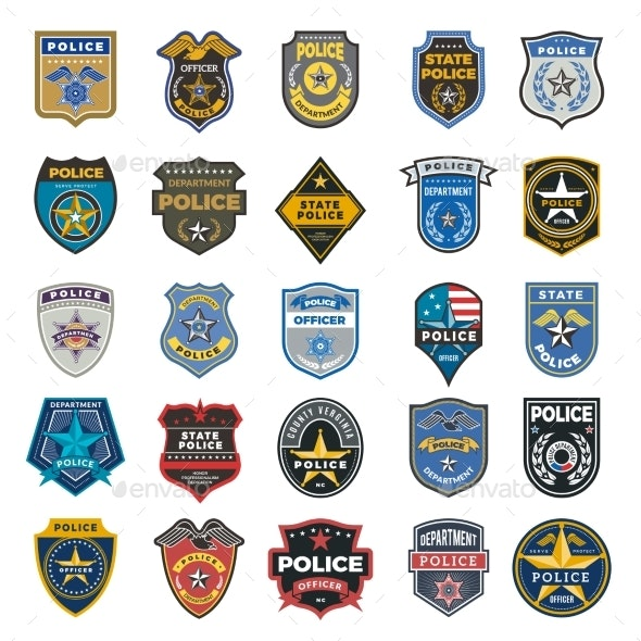 Police Badges. Officer Security Federal Agent - Objects Vectors