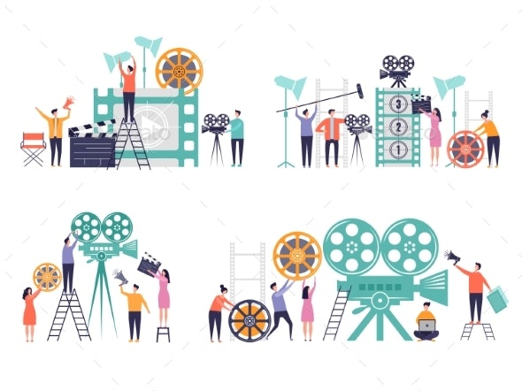 Movie Production Concept. Flat Characters Making - People Characters