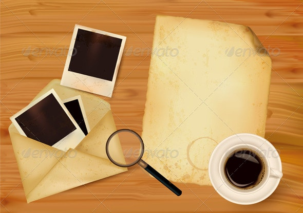 Old envelope with photos and old paper. - Backgrounds Business