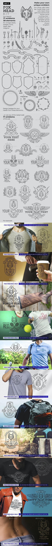 Fox Head Badges and Logos Kit - Decorative Symbols Decorative