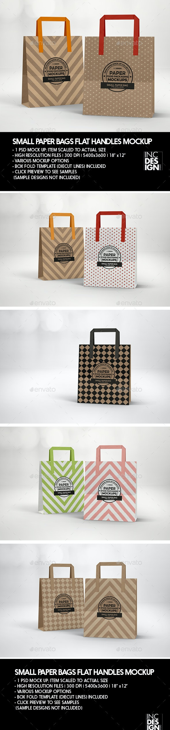 SMALL Paper Bag with Flat Handles Packaging Mockup - Product Mock-Ups Graphics