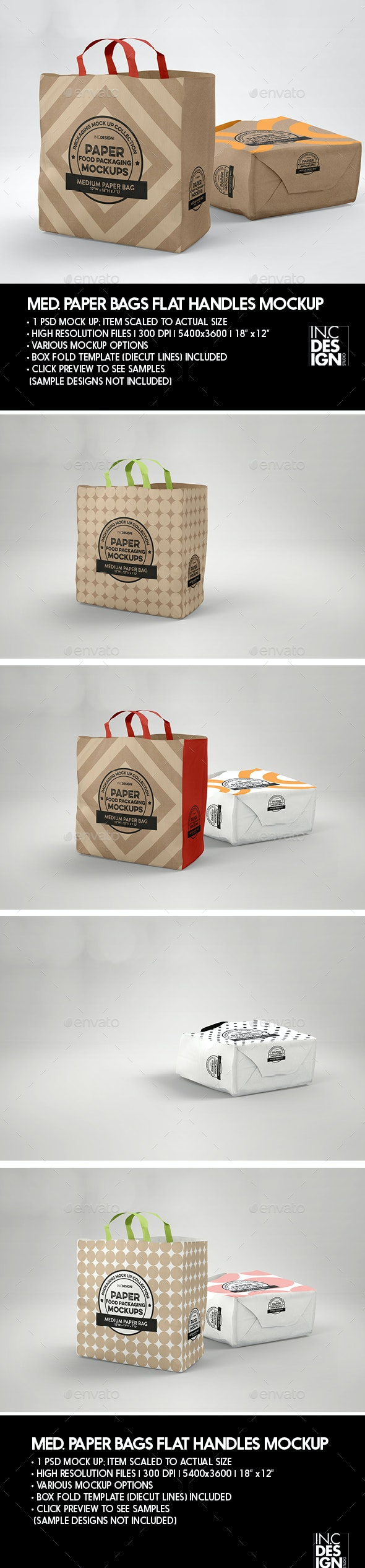 MEDIUM Paper Bag with Flat Handles Packaging Mockup - Product Mock-Ups Graphics