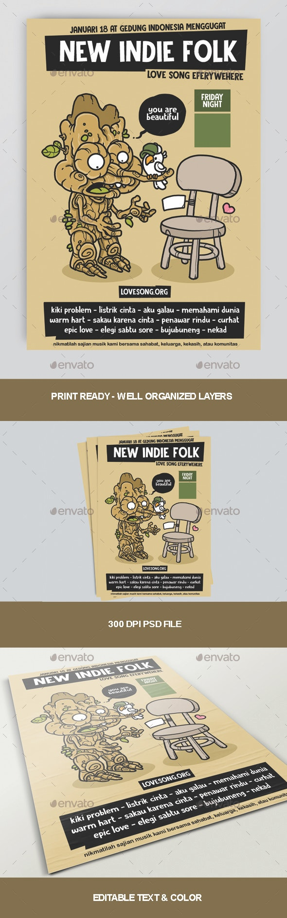 New Indie Folk Poster - Concerts Events