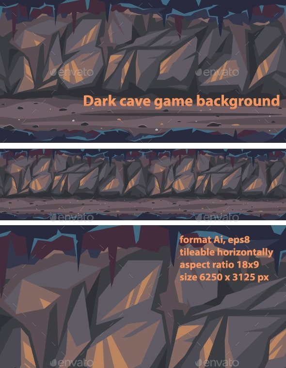 Dark Terrible Cave Background - Backgrounds Game Assets