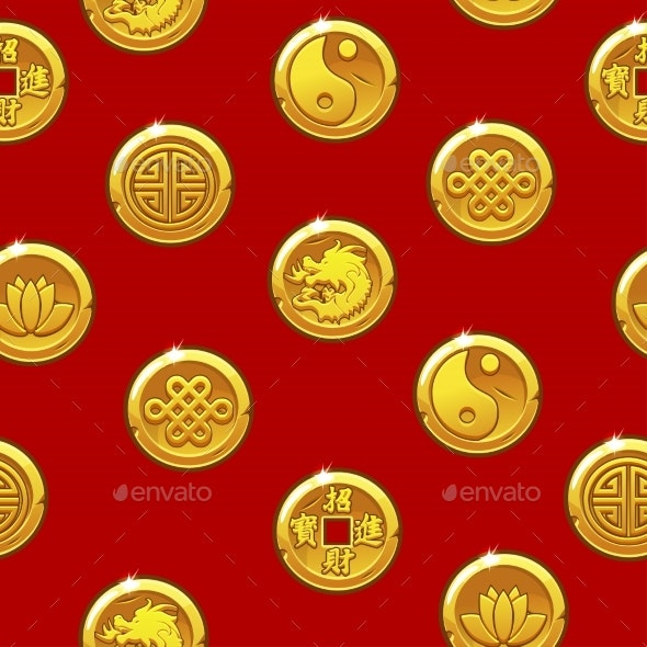 Chinese Seamless Pattern with Traditional Symbols - Patterns Decorative