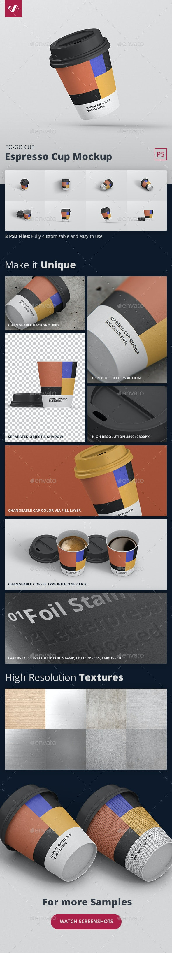 Espresso Coffee Cup Mockup - Food and Drink Packaging