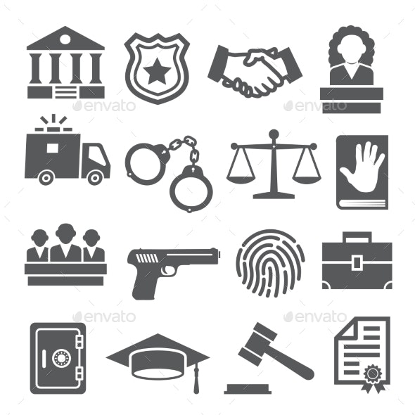 Law Icons Set on White Background - Miscellaneous Vectors