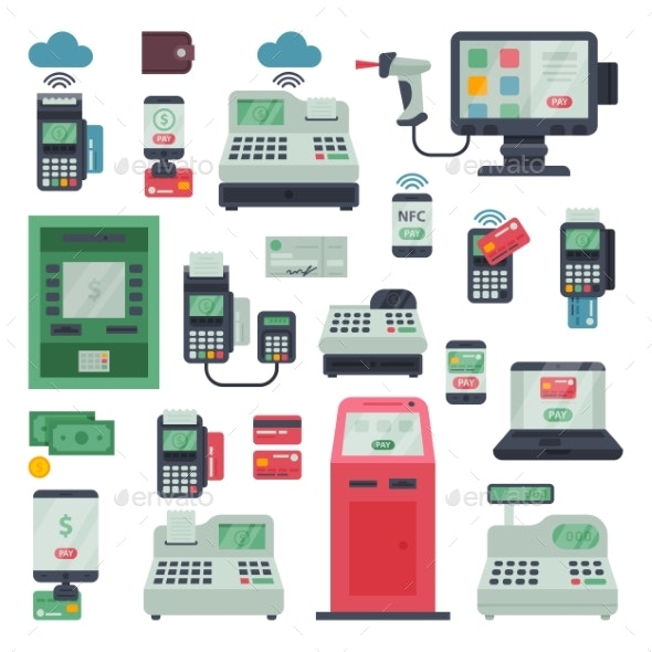 Payment Machine Vector POS Banking Terminal - Computers Technology