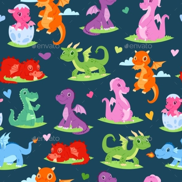 Dragons Children Seamless Pattern Vector - Animals Characters