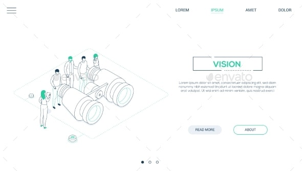 Business Vision - Line Design Style Isometric Web - Concepts Business