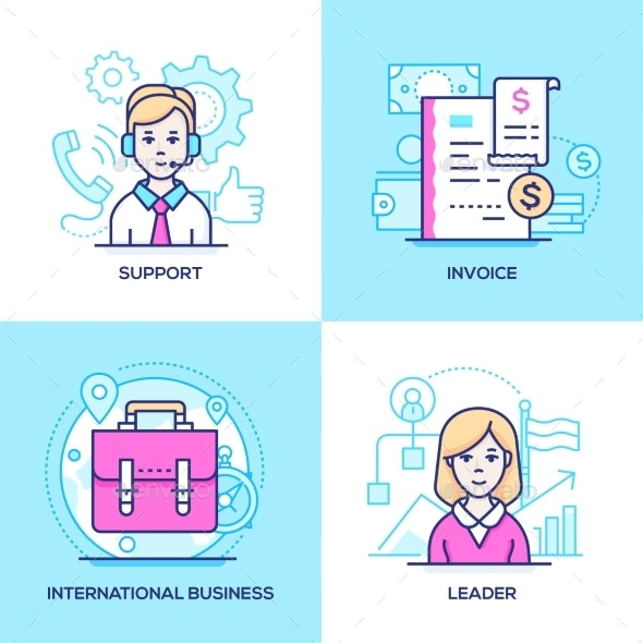 Business - Set of Line Design Style - Concepts Business