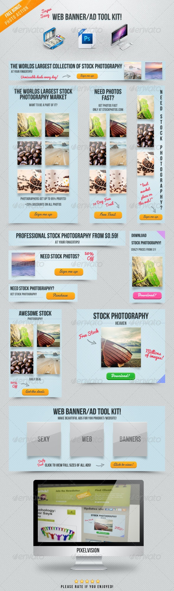 Web Banner/Ad Tool Kit #1 - Banners & Ads Web Elements