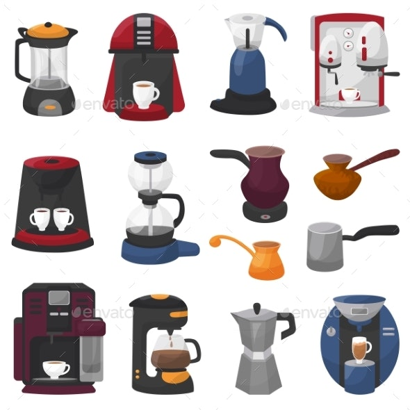 Coffee Machine Vector Coffeemaker and Coffee - Food Objects