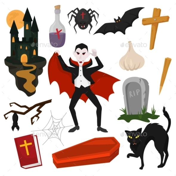 Vampire Vector Cartoon Dracula Character in Scary - Miscellaneous Vectors