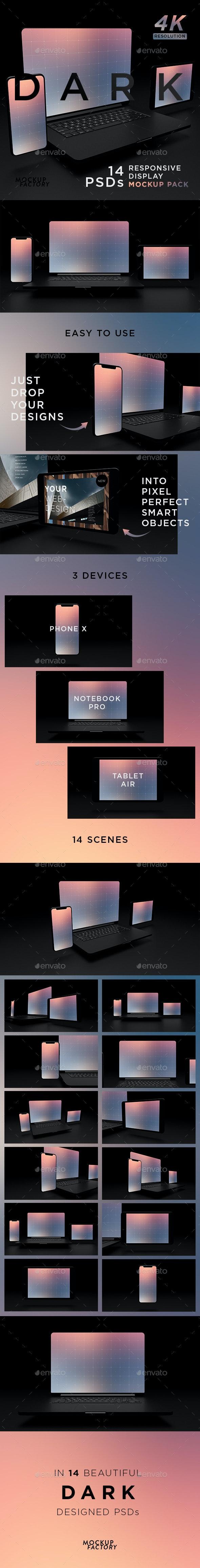 Dark - Responsive Screen Mockup Pack - Monitors Displays