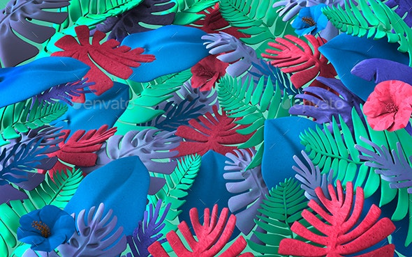 Colorful Background Of Abstract Jungle Plants And Leaves - 3D Backgrounds