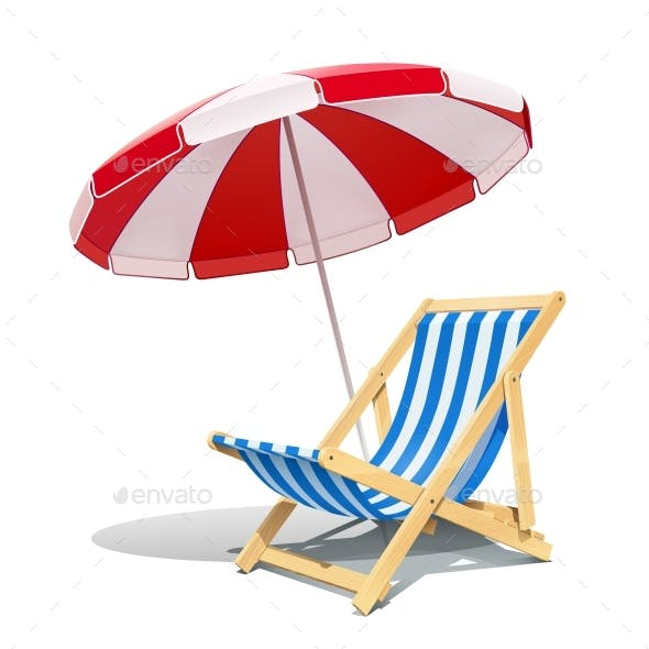 Beach Chaise Lounge and Sunshade for Summer Rest