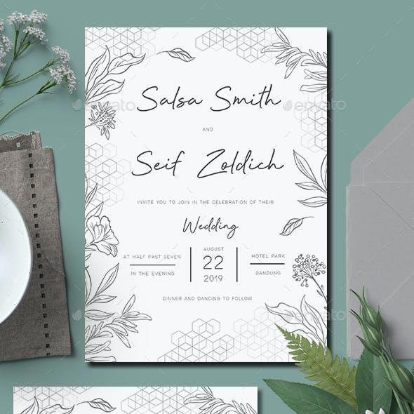 Geometric Foliage Wedding Invitation