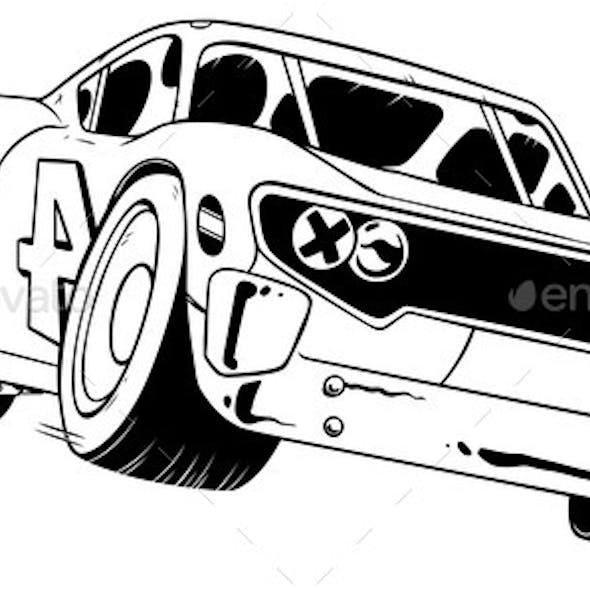 Race Car Line Art