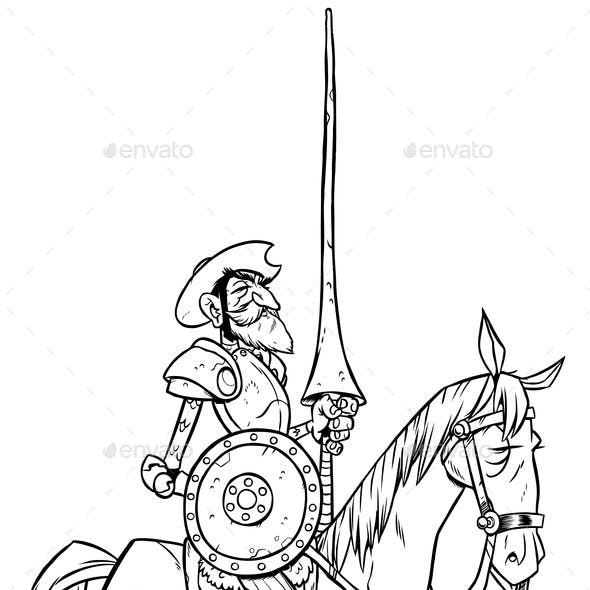 Don Quixote Line Art
