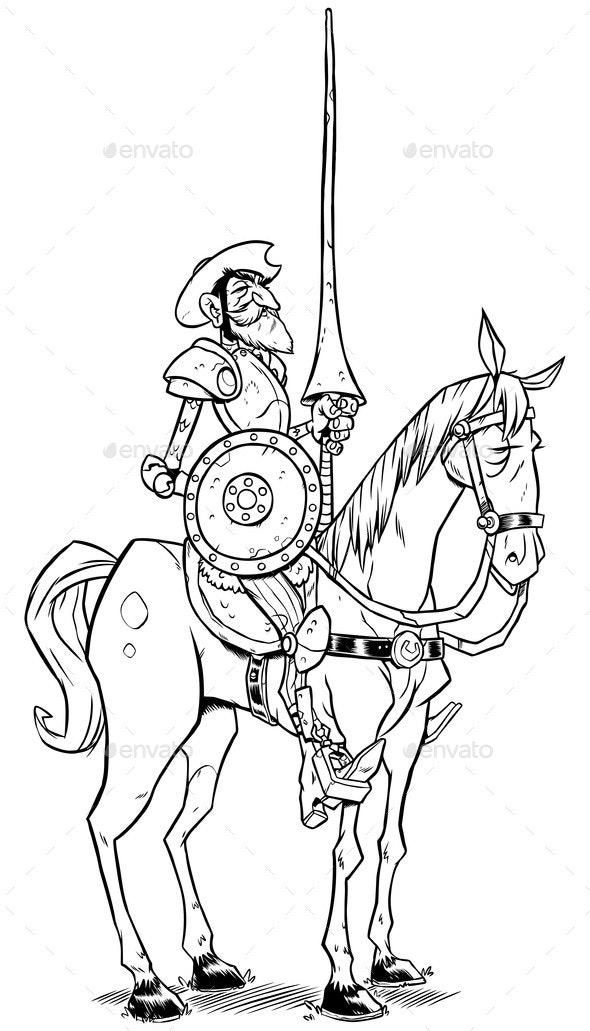 Don Quixote Line Art - Miscellaneous Vectors