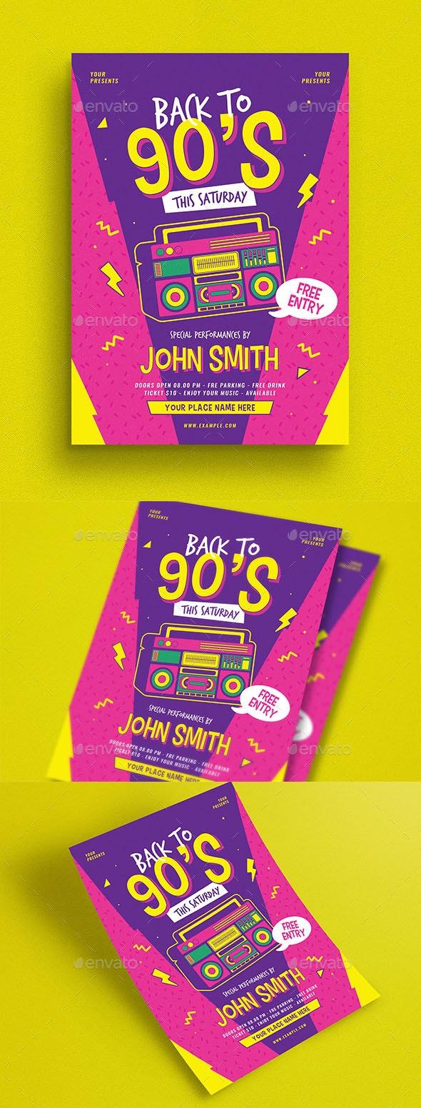 90s Radio Music Flyer - Flyers Print Templates