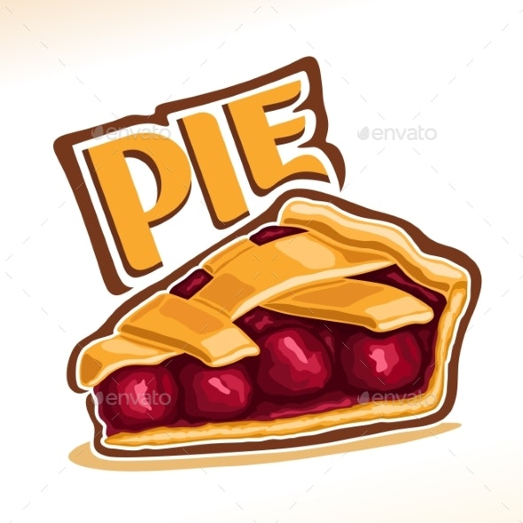 Vector Illustration of Cherry Pie - Food Objects