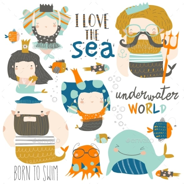 Cartoon Set with Little Mermaids Under the Sea - Miscellaneous Vectors