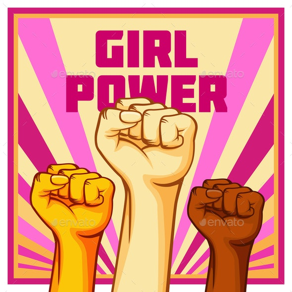 Vintage Style Vector Girl Power Poster - People Characters