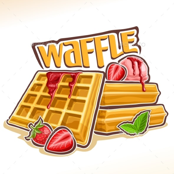 Vector Logo for Belgian Waffle - Food Objects