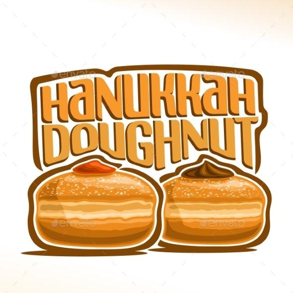 Vector Logo for Hanukkah Doughnut - Food Objects