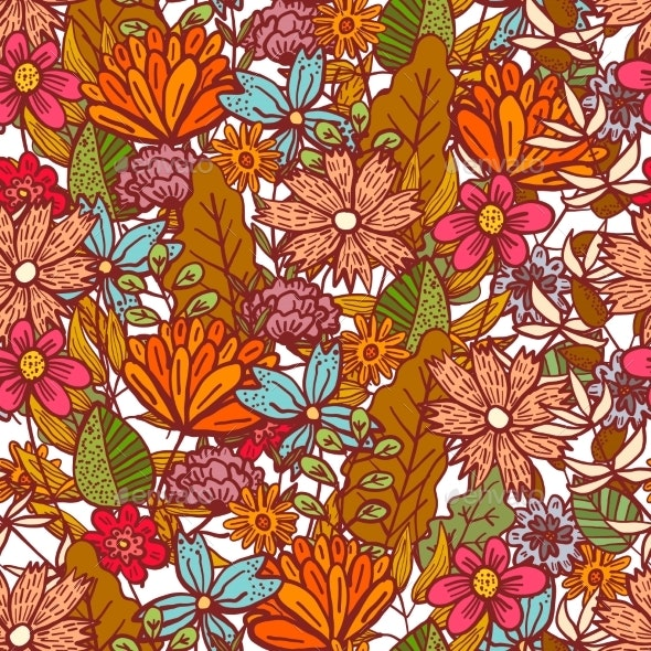 Bright Red Floral Pattern with Mess of Flowers - Flowers & Plants Nature