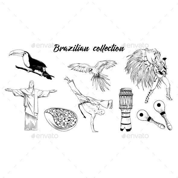 Hand Drawn Sketch Set of Brazilian Carnival - Travel Conceptual