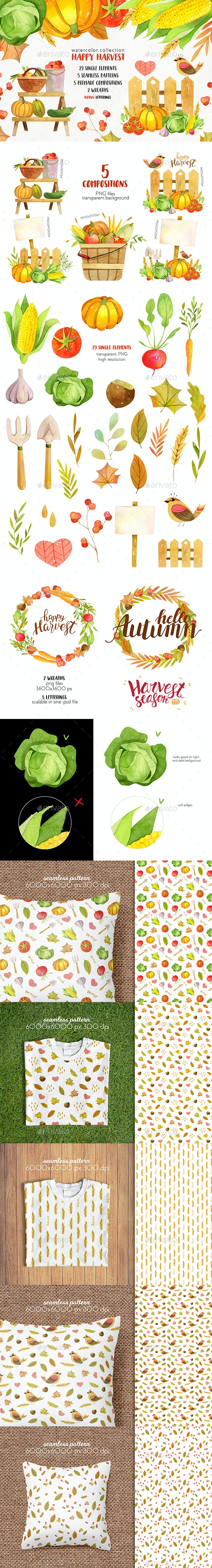 Watercolor Autumn Harvest Clip Art - Objects Illustrations