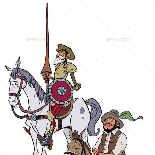 Don Quixote and Sancho Panza on White