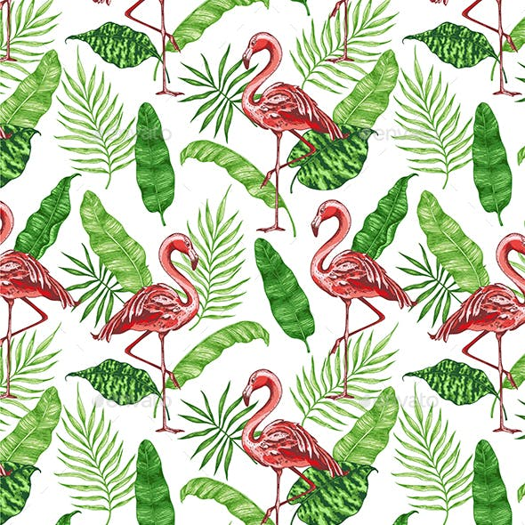 Tropical Pattern with Pink Flamingos