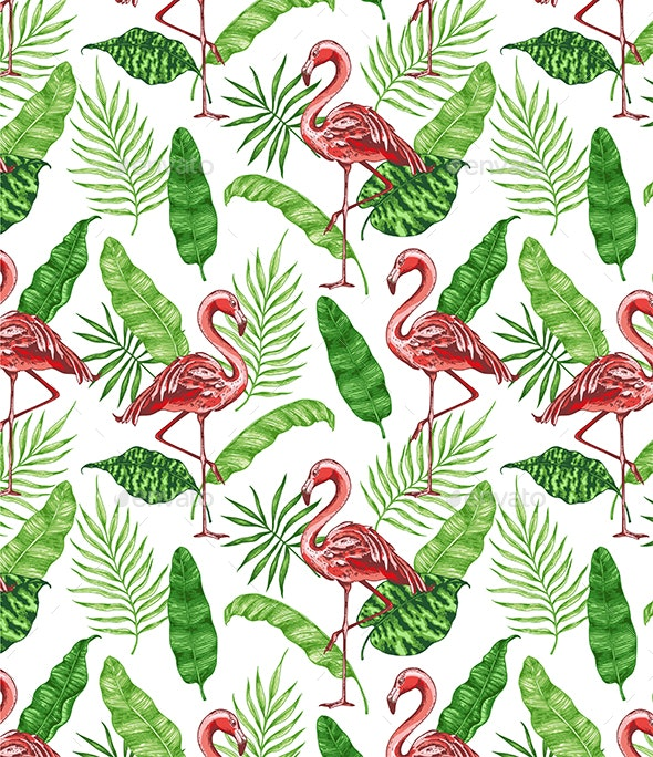 Tropical Pattern with Pink Flamingos - Patterns Decorative