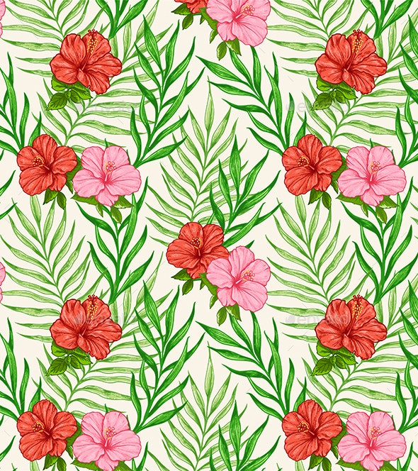 Tropical Seamless Pattern with Flowers - Patterns Decorative