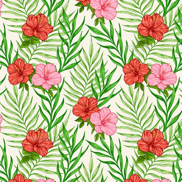 Tropical Seamless Pattern with Flowers