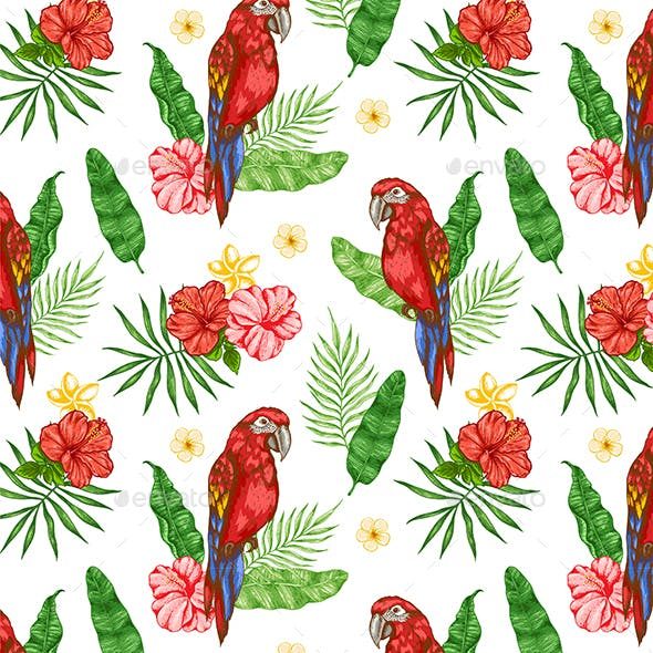 Pattern with Flowers and Red Parrot